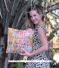 Recycled woven juice wrappers pillow