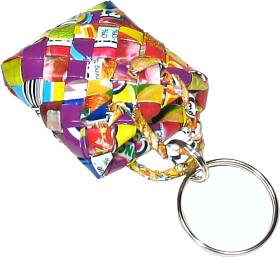 Recycled woven juice wrappers keyring