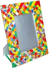 Recycled juice wrappers picture frame